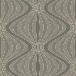 Decorline - Decorline Geometrics Gravure Ogee Wallpaper - This wallpaper has Josephine Baker curves and jazzy energy to match. Swirling gray stripes undulate to create movement and a thoroughly modern vibe, and are finished with shimmer and beaded texture shimmy. Each bolt covers about 56 square feet, has a 10.43 inch repeat and a straight match.