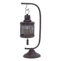 "Benzara - Lantern with Disserted Finish with Tall Holder - Featuring a distinctive look, this Metal Lantern 23""H, 8""W is perfect for adding warmth and elegance to simple decor styles. The exquisite design of this lantern is ideal for lending a rustic, country cottage feel to different room settings. Lavished with a disserted finish, this metal lantern is supported by a simple, tall metal holder. The robust design of the lantern base is accented with a metal mesh that filters the light of the candle, and casts a delightful glow. The sturdy base of this metal holder flaunts a flat circular design, and is detailed with intricate carved accents for added visual appeal. Made out of solid metal, this lantern perfectly combines durability with lasting functionality. It is also an excellent choice of gift for your beloved ones..; Flaunts a distinct look; Adds warmth and elegance to simple decor styles.; Perfectly combines durability with lasting functionality; Robust design of the lantern base; Weight: 4.32 lbs; Dimensions:8""W x 8""D x 23""H; 6""W x 6""D x 9""H"