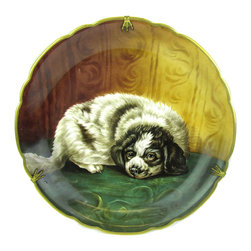 """Limoges - Antique Hand-Painted Limoges Wall Charger w/ Puppy - Antique French Limoges charger with adorable hand-painted portrait of a black-and-white puppy. Signed by the artist in the lower left, marked """"J Limoges"""" on the back. Rare original wall hanger with bird's claw details, marked """"Déposé LB."""""""