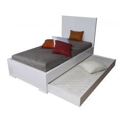 White Line Imports - Anna High Gloss White Twin Bed with Trundle - Bring extra convenience to your bedroom with the Anna High Gloss White Bed by White Line Imports. The bed features sturdy wooden construction, panel headboard with beautiful square design, twin tundle and bottom mattress. Twin trundle with mattress provide an extra sleeping surface for an overnight guest and also saves space.