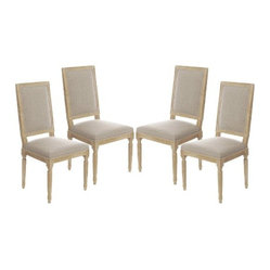 Vintage French Square Upholstered Side Chair Dining Chair, Set of 4
