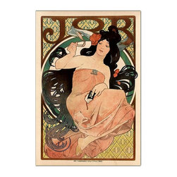 Trademark Global - Job by Alphonse Mucha Advertising Poster Repr - Notice how the clever artist Alphonse Mucha manages to repeat the brand logo in this intriguing vintage style advertising poster for Job cigarette papers.  In the woman's hand, the background design, even her brooch mimics the distinct Job print logo.  This extra-large wall art is a Giclee gallery wrapped canvas print, large in size and extraordinary in quality.  You'd expect to pay much more for art of such exceptional value. Gallery wrapped Giclee on canvas. Ready to hang. Traditional style. Subject: Vintage. Format: Vertical. Size: Extra large. Canvas material. 35 in. W x 47 in. H (11 lbs.)Giclee is an advanced printmaking process for creating high quality fine art reproductions. The attainable excellence that Giclee printmaking affords makes the reproduction virtually indistinguishable from the original artwork. The result is wide acceptance of Giclees by galleries, museums and private collectors.