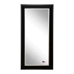 Rayne Mirrors - Grand Black and Aged Silver 22 x 61 Slender Body Mirror - This large handsome wall mirror has a clean and crisp look that will be a refined addition to a bedroom or bathroom area.  This 3.5 inch wooden frame features a traditional profile with an aged silver liner.  Over-sized mirrors are every designers not-so-secret secret. From bringing in more light to making a small space feel larger to even adding a little drama to the space.