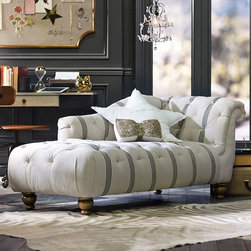The Emily & Meritt Ticking Stripe Chaise - A thin stripe on upholstery is my new favorite way to cover anything. Gorgeous!