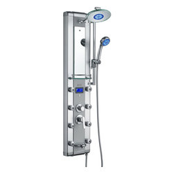 "AKDY - AKDY Aluminum Shower Panel Tower with Rainfall Shower Head, 52"" - This new AKDY luxurious shower panel has just newly arrived to North America and it is one of the best shower panels you can find in the market. The body of the shower panel is made of high quality aluminum alloy and tempered glass. It comes with several functions, including an overhead shower, a hand-held shower head, 8 body massage nozzles, and a tub spout. Two controllers are added to control the functions and water temperature. By buying this unique and lavishing shower panel, you would be able to enjoy a higher level of showering experience after every day's hard work!"