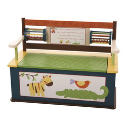 Levels of Discovery - Jungle Jingle Bench Seat with Storage - This entertaining bench seat coordinates with the CoCaLo Baby Jungle Jingle bedding collection The fun backrest design includes 2 spinning jingle bell drums & a special poem: The little red monkey swingin� from a tree says Come on friends, make music with me Lion, zebra, alligator � one, two, three All playing Jungle Jingle, happy as can be This piece also features a slow-closing metal safety hinge2 spinning jingle bell drums. Special poem. Slow-closing metal safety hinge. . All products have instructions included for assembly