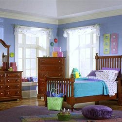 Vaughan Bassett - 5 Pc Youth Slat Poster Bedroom Set in Cherry - Choose Bed Size: TwinIncludes slat poster bed, commode, chest, double dresser and vertical mirror. Cherry finish. Assembly required. Commode:. 2 Drawers. 1 Open shelf. 28 in. W x 16 in. D x 29 in. H. Chest:. 5 Drawers. 38 in. W x 18 in. D x 54 in. H. Double dresser:. 6 Drawers. 52 in. W x 18 in. D x 36 in. H. Vertical mirror: 35 in. L x 2 in. W x 40 in. H. Slat poster bed:. Twin Size:. Includes slat poster headboard, slat poster footboard and wood rails with 3 1-inch slats. Slat poster headboard: 42.5 in. L x 3 in. W x 58 in. H. Slat poster footboard: 42.5 in. L x 3 in. W x 35 in. H. Full Size:. Includes slat poster headboard, slat poster footboard and wood rails with 3 1-inch slats. Slat poster headboard: 57.5 in. L x 3 in. W x 58 in. H. Slat poster footboard: 57.5 in. L x 3 in. W x 35 in. H. Wood rails: 76 L x 6 in. W x 1 in. H