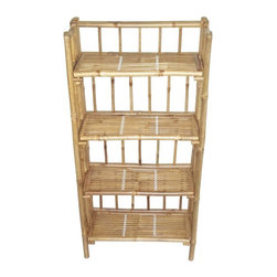 "Bamboo54 - Bamboo 4-Tier Folding Shelf - This bamboo shelf measures 53"" H x 26"" L x 12"" D and is a great addition to any room. Makes a great display rack as well as fully functional bookcase. Folding function makes it portable when not in use. Ideal for small apartment or dorms. Shelve clearance of 12 H x 23 W."