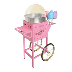 Nostalgia Products - Old Fashioned Cotton Candy Cart - Unique flossing head. Side rack holds 6 cones. Heat switch. Commercial use. Wattage: 700 W. Main switch turns motor on and off. Warranty: 90 daysThe Vintage Collection Old Fashioned Cotton Candy Cart is designed to resemble vendor carts of the early 1900s, with the convenience of a modern appliance. Simply plug in, turn on, pour pure, granulated sugar into the center receptacle, and start spinning colorful and tasty treats. This fanciful product is fun for the whole family and brings out the kid in everyone. Approved for commercial use, the cotton candy maker will spin sugar into sweet candy floss that collects on cones just like at the carnival!