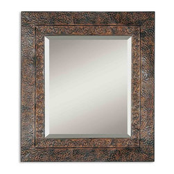 Uttermost - Uttermost Jackson, Rustic Metal Mirror - This Rustic Metal Frame Features A Brown Finish With Rust And Black Undertones. The Inner Lip Has A Fluer-de-lis Detail And Outer Edge Has A Dented Appearance. May Be Hung Either Horizontal Or Vertical.