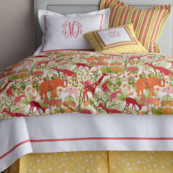 "Legacy Home - Legacy Home Full Animal-Print Duvet Cover, 86"" x 86"" - In bubble gum and sorbet shades, ""Jungle Boogie"" bed linens from Legacy Home are totally adorable! Duvet cover features all her favorite animals. Stripes and polka dots add even more pizazz. Made in the USA of domestic and imported fabrics. Dry clean. ...."