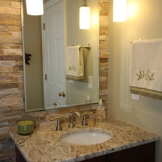 Transitional Powder Room by Boyles Home Improvement Inc