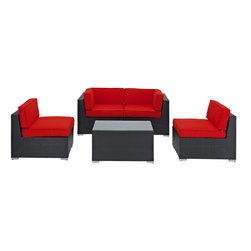 Modway - Camfora 5 Piece Sectional Set in Espresso Red - Simple and serviceable, the Camfora is a great choice for any backyard. Classically styled furniture crafted out of all weather materials meant to last, this set will please year after year. Enjoy some quality time in the fresh air with the Camfora set.