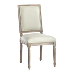 Chateau Dining Chair - Sage - Here's the more square brother to our Louis XVI Chair (though we'd hardly call it boring!) Simpler, less ornate designs like this characterize Louis XVI furniture–a return to the classic designs of the ancient Romans. This chair embodies those qualities: simplicity in high-quality linen upholstery, charm in a weathered oak finish, and elegant chair legs that imitate Roman columns. Choose one (or more!) of five custom colors to mix and match.