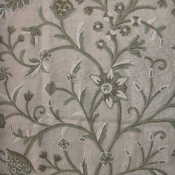 Crewel Fabric World by MDS - Crewel Fabric Tree of Life Neutrals on Natural Brown Club Linen- Yardage - Fabric Type: Linen