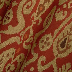 Neopolo Ikat Upholstery Fabric in Red Garnet - Neopolo Ikat Upholstery Fabric in Red Garnet is a textured fabric with warm colors perfect for upholstering an accent piece or for throw pillows. Made from a blend of 30% cotton, 50% rayon, and 20% polyester. This fabric passes NFPA 260 and 32,000 double rubs on the Wyzenbeek abrasion test. Width: 57″