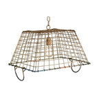 EcoFirstArt - Market Basket - Found art so perfectly suited to your kitchen, this oyster basket has been repurposed to create a delightful pendant, showcasing evocative lines and a tremendous capacity for illumination. As no two baskets will be in exactly the same condition, artisans hand-finish the sockets and chain set to deliver an exacting match for your discerning taste.