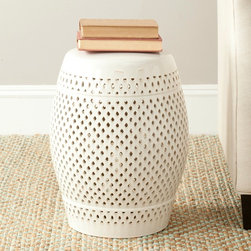 Safavieh - Safavieh Paradise Courtyard Cream Ceramic Garden Stool - This lovely Paradise Courtyard cream ceramic garden stool from Safavieh is the perfect accent for your patio,sunroom,or den. The stylish stool can be used as an ottoman,accent table,or to provide additional seating for unexpected guests.