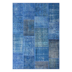 Rugsville - Rugsville Vintage Turkish Overdyed Patchwork Mazzarine Blue  Rug 9x12 - Phenomenally gorgeous, the patchwork rugs celebrate centuries of original antique Turkish and Persian carpets. Woven in the last 100 years, original antique carpets are cut and pieced by modern day artisans into a single pastiche of pattern and color. It is then sheared and finally hand dyed in a full immersion bath of a chosen color. The effect is quite stunning, adding a vibrant overcast to the whole rug and blending. seamlessly with the prior dyes. This unique look is perfect for today's modern decor. Since the original dyes in the design blend with the overcast, each piece is gifted with its own unique and one of a kind look.