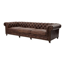 Marco Polo Imports - Rockefeller Sofa - Inspired by the libraries of Turn of the Century American aristocracy, this leather chesterfield is timelessly elegant. Made from the finest, top-grain, aniline-dyed leather and an eight-stage hand-aging process that epitomizes quality craftsmanship.