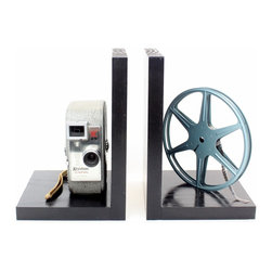 Keystone K25 Capri - Vintage Camera Bookends - DVD Holder - Movie Theater Decor - Original Keystone K25 Capri 8mm Camera, 8mm film and film reel – modified into a pair of bookends.