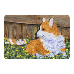Caroline's Treasures - Corgi Kitchen or Bath Mat 20 x 30 - Kitchen or Bath Comfort Floor Mat This mat is 20 inch by 30 inch. Comfort Mat / Carpet / Rug that is Made and Printed in the USA. A foam cushion is attached to the bottom of the mat for comfort when standing. The mat has been permanently dyed for moderate traffic. Durable and fade resistant. The back of the mat is rubber backed to keep the mat from slipping on a smooth floor. Use pressure and water from garden hose or power washer to clean the mat. Vacuuming only with the hard wood floor setting, as to not pull up the knap of the felt. Avoid soap or cleaner that produces suds when cleaning. It will be difficult to get the suds out of the mat.