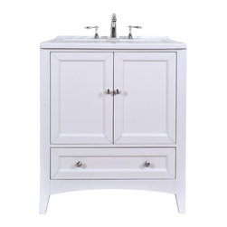 "Stufurhome - 30.5"" Pure White Single Laundry Sink - This All-in-One Laundry Single Sink Vanity, embellished in a pure white finish, is a masterful combination of simplicity, functionality and charm. The deep rectangular sink, spacious storage and drawers definitely fulfill the needs of modern day living. The bright white of the sink and the pure white finish of the cabinet make this vanity an attention grabber and add a scent of gracefulness to your laundry room."