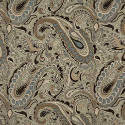Brown Beige Blue And Tan Paisley Indoor Outdoor Upholstery Fabric By The Yard - P001011 is great for residential and commercial applications, and can be used outdoors and indoors. This fabric will exceed at least 35,000 double rubs (15,000 is considered heavy duty), and is easy to clean and maintain. In addition, this product is stain, water, mildew, bacteria and fade resistant. For superior quality and performance, this fabric is woven and solution dyed.