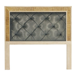 """Berliner Headboard - Berliner Headboard (King Size). Style no: BE20604. 81""""w x 72""""h. Berliner Headboard (Queen Size). Style no: BE20602. 64""""w x 60""""h. Material: Wood. Finish/Accents: As specified. Fabric Requirement: King: 6 yards; Queen: 5 yards. Cleats provided for wall attachment. Custom sizing available. Designed by Shah Gilani, ASFD."""