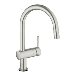 Grohe - Grohe 31359DC0 Supersteel Infinity Minta Series One Handle Kitchen Touch Faucet - Grohe Minta Touch 31359 DC0. This single-handle faucet features a single-hole installation, a 6V lithium battery supply (CR-P2), a safety shut-down circuit, a solenoid valve, an automatic safety stop (60 second), a Grohe SilkMove ceramic cartridge, a 360-degree spout swivel, an integrated non-return valve, a locking push-button control, a SpeedClean anti-lime system, stainless steel braided flexible supplies, and a quick installation system. This model is constructed of Grohe's SuperSteel for a more durable faucet.