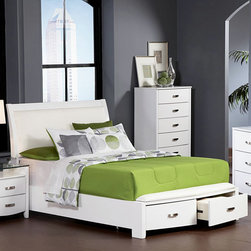 Homelegance - Homelegance Lyric Storage Platform Bed in White California King - Taking the expected design elements of hard contemporary and putting a decidedly feminine curve into the mix makes the Lyric Collection a unique addition to your new bedroom design. With each curve comes a new twist - satin nickel hardware accents the glossy white finish, bow-front case pieces feature ball bearing drawer glides and compliment the padded sleigh headboard & footboard, while a round, contemporary mirror reflects the modern designs that you have selected. A final, unique, addition to the collection is the glass topped night stand that furthers the contemporary feel. - 1737KW-CK.  Product features: Lyric Collection; White Finish; Dovetailed Drawers; Ball Bearing Glide; New twist - satin nickel hardware; Padded sleigh headboard & footboard. Product includes: Headboard (1); Footboard w/ 2 Drawers (1); Rails & Slats (1). Storage Platform Bed in White belongs to Lyric Collection by Homelegance.