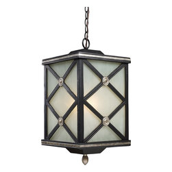 "Elk Lighting - Elk Lighting Chaumont Traditional Outdoor Hanging Light X-1/33124 - This Elk Lighting Chaumont traditional outdoor hanging light is an updated version of the classic English Tudor style. Notice the solid cast aluminum frame in a matte black finish with silver highlights, ""X"" pattern with medallion accents and cream glass panels. It's rich in details and will surely cast an inviting light in any outdoor space."