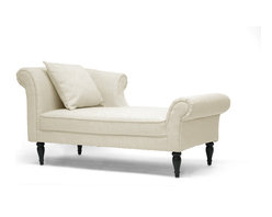 Wholesale Interiors - Lucille Beige Linen Victorian Chaise - Modern comfort, old-world style. Our Lucille Modern Chaise is regal with scrollback detail, piped edges, beige linen blend upholstery, and fabric piped edges. Black turned wood legs with non-marking feet and a matching throw pillow add even more charm. A sturdy birch wood frame and CA117 flame retardant foam will provide stability and comfort for years to come. This Chinese-made designer chaise lounge requires assembly and spot cleaning as needed.