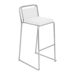 "Lumisource - Cascade Bar Stool, White - 19.5"" L x 18.5"" W x 37"" H"