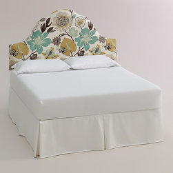 World Market - Gorgeous Elsie Headboard - Beautify your bed with our custom-made Gorgeous Elsie Headboard, handcrafted in the U.S.A. with cotton upholstery on an elegant arch silhouette. Showcasing an oversized floral motif on an ivory ground, this plush headboard is a dreamy deal. Pair it with our coordinating McKenzie Ottoman in the same custom fabric for a pulled together look.