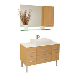 """Fresca - 43.25 Inch Espresso Modern Bathroom Vanity, Natural Wood - Beautifully understated with simple chic design.  However it's the little details like cultured marble countertop (white) and a gently scalloped basin that complete this natural wood finished vanity.  Many storage drawers underneath make this vanity great for a larger bathroom and gives a great feeling of home with its dresser like appearance.  Great for any decor, and for those looking to update their space with something simple, minimalistic yet dashingly handsome.  Many faucet styles to choose from.  Optional side cabinets are available. Dimensions: 43.38""""W X 20""""D X 33.5""""H (Tolerance: +/- 1/2""""); Counter Top: White Marble; Finish: Natural Wood; Features: 6 Drawers, Soft Closing; Hardware: Chrome; Sink(s): 20""""x12.5""""x3"""" White Ceramic Sink with Overflow; Faucet: Pre-Drilled for Standard Single Hole Faucet (Included); Assembly: Light Assembly Required; Countertop, Sink, Cabinet Not Attached; Large cut out in back for plumbing; Included: Cabinet, Sink, Choice of Faucet with Drain, Mirror (31.5""""W x 25.63""""H), Side Cabinet (11.75""""W x 25.63""""H x 6""""D); Not Included: Backsplash, Medicine Cabinet (14""""W x 14""""L x 23.5""""H (Optional))"""