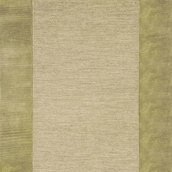 "Trans-Ocean - Border Sage Rugs 1300/16 - 24""X36"" - This interesting take on a solid adds elegant simplicity to any d�cor and makes this a practical design option.Thick 100% Indian Wool is Hand Tufted by Artisans to create these rich Indoor rugs.This two toned Border rug combines a looped center with a pile frame creating a variation in height and texture and a very natural feel."
