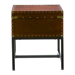 Holly & Martin - Holly & Martin Yorkshire Storage End Table-Espresso - With a spacious hidden storage compartment and a restyled antique design, this end table is not only beautiful, but functional as well. Studded accents line the edges of this sleek living room table to give it an extra element of design. A metal handle on either end of this table make moving it easy as well, so try it in your living room or even at your bedside for a new look. You may also pair this end table with the matching cocktail table for a complete update.