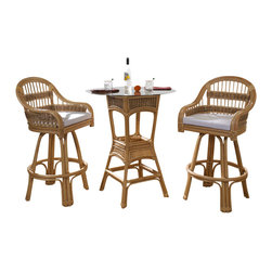 Wicker Paradise - Rattan Bar Stool Set of 3: Tropical Breeze Rattan - Everyone loves good company & even better conversation! This tropical rattan bar stool set will give you a mixture of tropical style and simple casual lounging for you and your guests. Add an extra barstool for an extra guest.  Tropical Rattan Bar Stool Set:   Rattan Barstools swivel so that you can enjoy them even more!  Lightweight rattan barstools allow you to easily move the furniture when necessary. Forget about struggling to move your seat. It?s a breeze with our rattan furniture.   This set is compact and designed to be smaller-space friendly.   Each rattan barstool is roomy and will include a cushion in your choice of fabric!