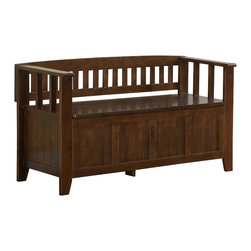 """Simpli Home - Acadian 48 inch wide Entryway Bench in Tobacco Brown - You want to make a good first impression...we get that. We designed the Acadian Storage Bench with exactly this in mind. This stylish bench allows your inner designer to shine through while creating added storage and seating for your entryway or mudroom. """"Form follows function"""" design rules apply here as the bench features a convenient flip up lid allowing for easy retrieval of articles from the dual storage compartment below."""