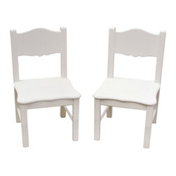 Guidecraft - Guidecraft Classic White Extra Chairs (Set of 2) - Guidecraft - Kids Chairs - G85703 - The Classic White Collection is a beautiful combination of design function and features and is styled to coordinate with a variety of room decor. The collection features a soft white matte finish and gently scalloped silhouettes on key storage seating and dress up items.