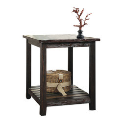 "Signature Design by Ashley - 25.13"" Height x 22.25"" Width x 26.13"" Depth - The Mestler table is designed with a rustic brown finish paired with an antiquing effect and simple design make it the perfect piece for any room. Function, simplicity, and style all in one!"