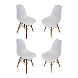 Ariel - Set of 4 Eames Style DSW Light Gray Plastic Dining Shell Chair with Dark Walnut - This set of 4 Eames Style DSW Molded Plastic Dining Shell Chair with Dark Walnut Wood Eiffel Legs will provide ample indoor seating for family and guests. Sporting a futuristic yet retro look at the same time, this chair set will be a great addition to any kitchen or dining room area. Constructed of heavy duty matte finish seats. Available in multiple colors.