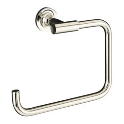 "KOHLER - KOHLER K-14441-SN Purist Towel Ring in Polished Nickel - KOHLER K-14441-SN Purist Towel Ring in Polished NickelPurist faucets and accessories combine simple, architectural forms with sensual design lines and careful detailing. Both sculptural and functional, this towel ring promises an inviting visual appeal of classic modernity, and features solid brass construction. Tools are included to simplify installation.KOHLER K-14441-SN Purist Towel Ring in Polished Nickel, Features:• 8-7/8""W x 2-13/16""D x 6""H"