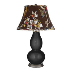 "Color Plus - Contemporary Tricorn Black Olive Botanical Double Gourd Table Lamp - Exclusive Tricorn Black designer color. Olive botanical print bell shade. Hand-crafted lamp. From the Color + Plus lighting collection. Maximum 150 watt or equivalent bulb (not included). 29 1/2"" high. Shade is 10"" across the top 17"" across the bottom 11"" on the slant.   Exclusive Tricorn Black designer color.  Olive botanical print bell shade.  Hand-crafted lamp.  From the Color + Plus lighting collection.  Maximum 150 watt or equivalent bulb (not included).  29 1/2"" high.  Shade is 10"" across the top 17"" across the bottom 11"" on the slant."