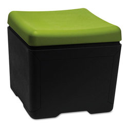 """Iceberg - Iceberg Otto File Ottoman, 18""""x18""""x17-1/4"""", Green and Black - A versatile seating and storage solution. Comfortable ottoman opens to reveal 1960 cubic inches of open space for letter-size hanging files or other personal items. Easy no-tool assembly."""