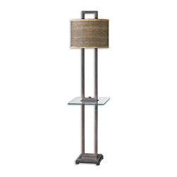 Uttermost - Uttermost Stabina End Table Lamp w/ Tan Woven Rattan Shade - End Table Lamp w/ Tan Woven Rattan Shade belongs to Stabina Collection by Uttermost Rustic bronze metal with burnished edges, black marble foot and a tempered, rectangle glass tray. The oval drum shade is brown and tan woven rattan with decorative trim. Lamp (1)
