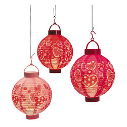 Valentine Hearts Light-Up Lanterns, Set of 3 - If it gets warm enough, it would be so fun to celebrate Valentine's Day outdoors under bunches of lanterns!