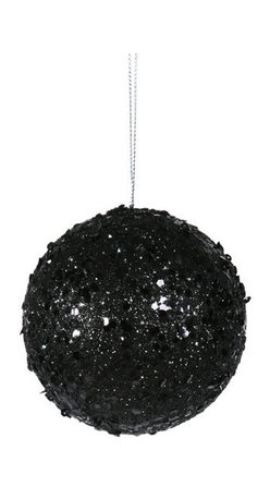 """3"""" Fancy Black Glitter Drenched Christmas Ball Ornament - It would be such a fun idea to fill your tree or wreath with big glittery black ornaments."""