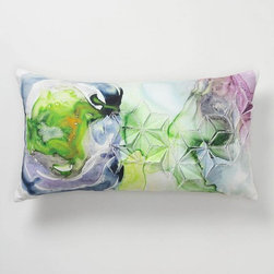 Blurred Geology Pillow, Rectangle - This pillow looks like artwork. The painting looks like watercolors, and combined with the origami pleats, it's meant to represent quartz and other geodes. This is a beautiful pillow.